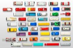 Juguete fundido a troquel en el fondo blanco, visión superior del coche truncamiento imágenes de archivo libres de regalías