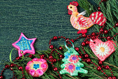 Juguete hecho en casa de los niños para las decoraciones de la Navidad de la pasta de la sal Fotos de archivo libres de regalías