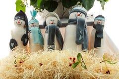 Juguete hecho a mano del muñeco de nieve Imágenes de archivo libres de regalías