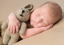 Juguete-liebres recién nacidas dulces del abarcamiento del bebé Imagen de archivo libre de regalías