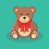 Juguete marrón lindo del oso de peluche con el arco rojo Imagen de archivo libre de regalías