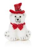 Juguete polar del oso de la Navidad aislado en el fondo blanco Imagenes de archivo