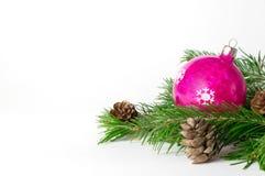 Juguete rojo del árbol de Cristmas con las ramas del pino Imagen de archivo libre de regalías