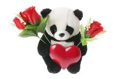 Juguete suave de la panda con el corazón del amor Fotografía de archivo