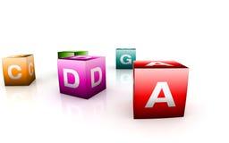 Juguetes alfabéticos en dimensión de una variable del cubo stock de ilustración