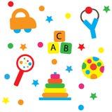 Juguetes coloridos del bebé Imágenes de archivo libres de regalías