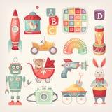 Juguetes coloridos del vintage stock de ilustración