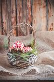Juguetes, conos y nueces de la Navidad en la cesta en la lona Imagen de archivo libre de regalías