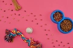 Juguetes - cuerda coloreada multi, bola, comida seca y hueso Accesorios para el juego en la opinión superior del fondo rosado Foto de archivo