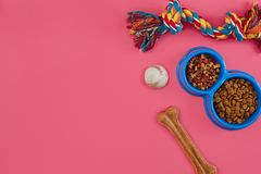 Juguetes - cuerda coloreada multi, bola, comida seca y hueso Accesorios para el juego en la opinión superior del fondo rosado Fotos de archivo libres de regalías