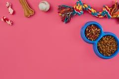 Juguetes - cuerda coloreada multi, bola, comida seca y hueso Accesorios para el juego en la opinión superior del fondo rosado Imágenes de archivo libres de regalías