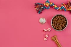 Juguetes - cuerda coloreada multi, bola, comida seca y hueso Accesorios para el juego en la opinión superior del fondo rosado Imagen de archivo libre de regalías