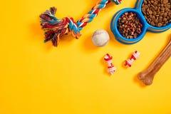 Juguetes - cuerda coloreada multi, bola y comida seca Accesorios para el juego en la opinión superior del fondo amarillo Fotografía de archivo