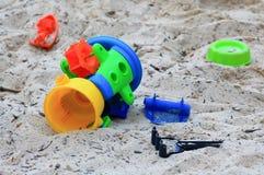 Juguetes de la caja de la arena Fotografía de archivo libre de regalías