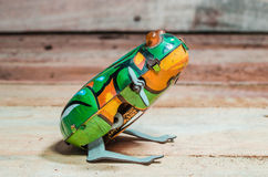 Juguetes de la lata de la rana Fotografía de archivo