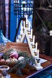 Juguetes de la Navidad, composición de las bolas de la Navidad Foto de archivo