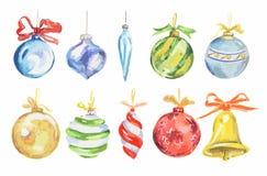 Juguetes de la Navidad de la acuarela fijados Imagen de archivo libre de regalías