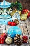 Juguetes de la Navidad de la herencia para el día de fiesta Fotografía de archivo