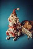 Juguetes de la Navidad en fondo azul Imagen de archivo libre de regalías