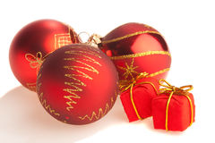 Juguetes de la Navidad y actuales rectángulos minúsculos Fotografía de archivo
