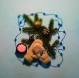 Juguetes de la Navidad y rama del abeto Fotografía de archivo