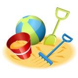 Juguetes de la playa Imágenes de archivo libres de regalías