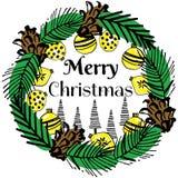 Juguetes de los conos de la rama de la Feliz Navidad del lema Fotos de archivo libres de regalías