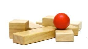 Juguetes de madera coloreados Fotos de archivo