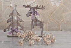 Juguetes de madera de la Navidad Imagen de archivo libre de regalías