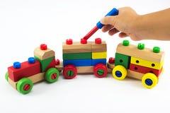 Juguetes de madera del tren Fotos de archivo libres de regalías