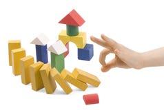 Juguetes de madera para el edificio foto de archivo