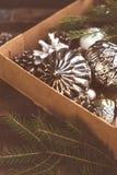 Juguetes de plata del árbol de Christmass en la caja Imágenes de archivo libres de regalías