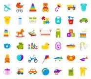 Juguetes del bebé fijados Ejemplo del vector en diseño plano stock de ilustración