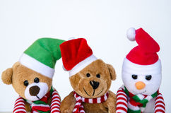 Juguetes del muñeco de nieve y del oso de peluche Fotos de archivo libres de regalías