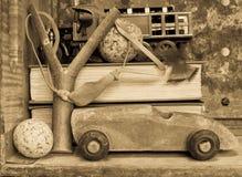 Juguetes del muchacho - fondo nostálgico Imagen de archivo libre de regalías