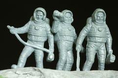 Juguetes del plástico de los astronautas Fotografía de archivo
