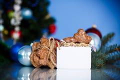 Juguetes del ` s del Año Nuevo con el pan de jengibre Fotos de archivo