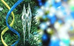 Juguetes del ` s del Año Nuevo Fondo de la Navidad de los carámbanos Foto de archivo