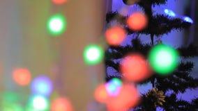 Juguetes e iluminación en el árbol de navidad Foco suave almacen de metraje de vídeo