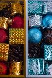 Juguetes embalados hermosos de la Navidad, Fotografía de archivo libre de regalías
