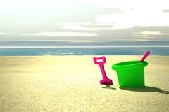 Juguetes en la playa stock de ilustración