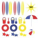 Juguetes gráficos de la playa de la diversión del verano imagen de archivo libre de regalías