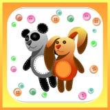 Juguetes hechos a mano de la materia textil para los niños Fondo de los botones stock de ilustración