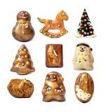 Juguetes hechos a mano del chocolate de la Navidad. Imagen de archivo libre de regalías