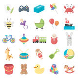 Juguetes 25 iconos de la historieta fijados para el web Imagen de archivo libre de regalías