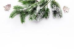 Juguetes para adornar el árbol de navidad para la celebración del Año Nuevo con las ramas de árbol de la piel en la maqueta blanc Fotografía de archivo libre de regalías