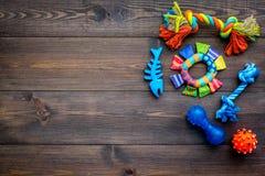 Juguetes para el perro y el gato de animales domésticos Accesorios del caucho y de la materia textil en espacio de madera oscuro  Foto de archivo libre de regalías