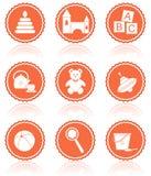 Juguetes del bebé. Iconos del vector. Fotos de archivo