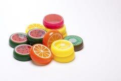 Juguetes plásticos de la fruta Imágenes de archivo libres de regalías