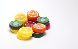 Juguetes plásticos de la fruta Fotografía de archivo